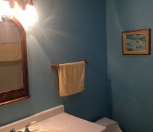 blue walled bathroom