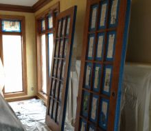 French doors taped for painting