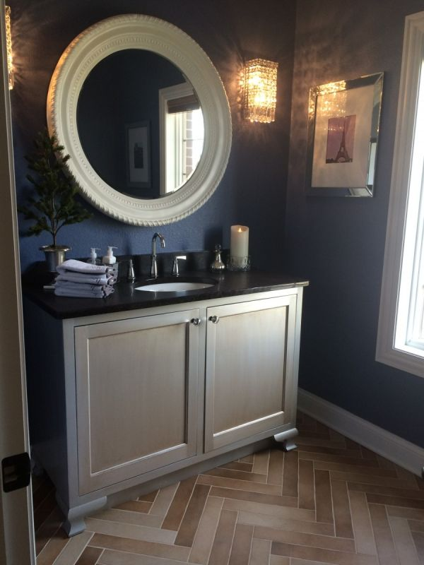 Powder room maple vanity painted with metallic silver.