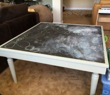 White Play Table  with black Chalkboard
