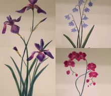 Trio of botanicals. Purple iris, blue bells and pink orchids