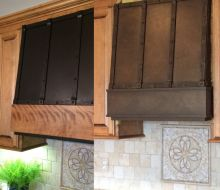 brown metal stove hood