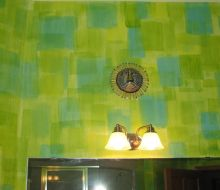 blue and green patterned walls