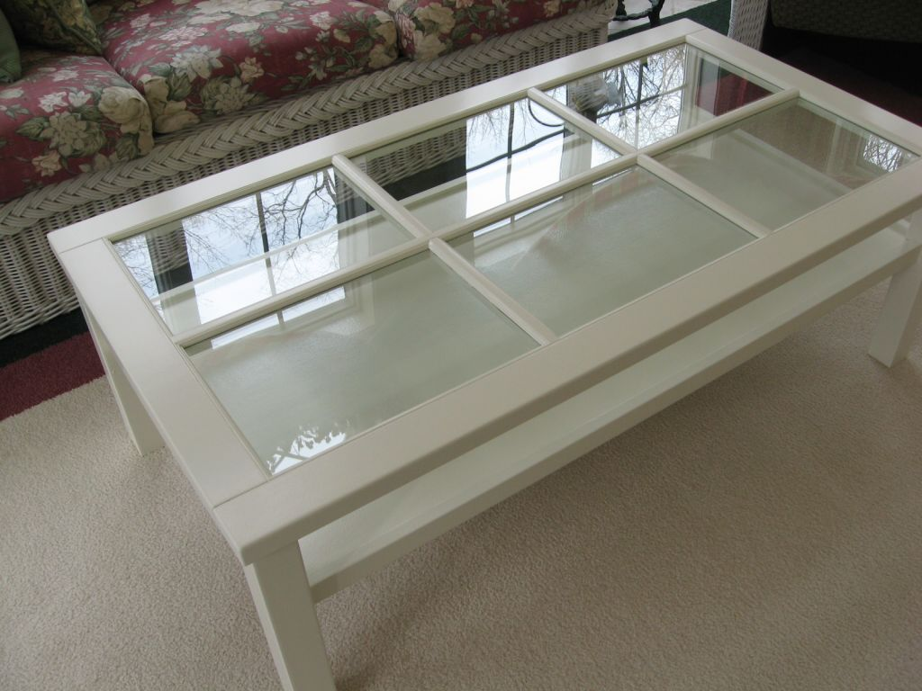 Painted White Glass Top Coffee Table