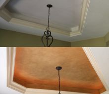 Gold colored tray ceiling