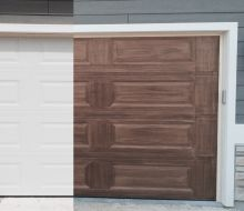 imitation wood grain garage door