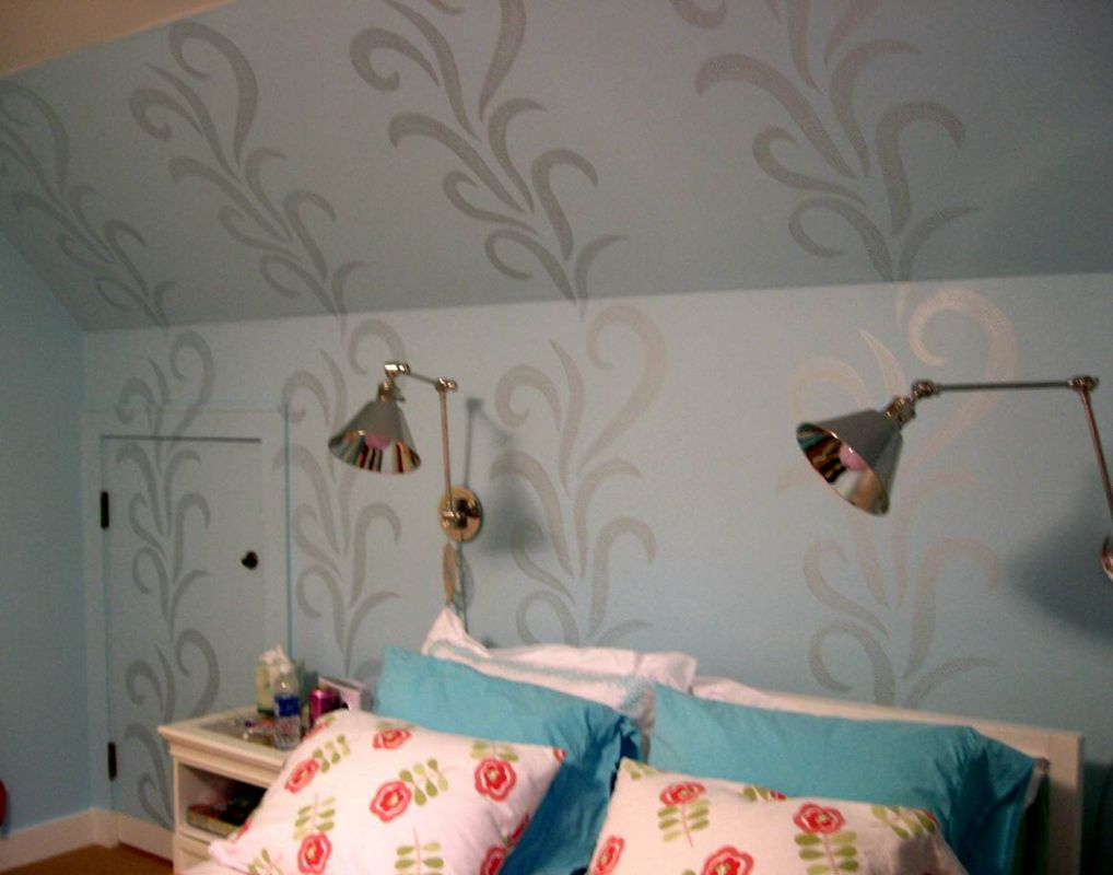Stencil painters cedarburg wi change your scenery walls with pearl stencil design female in the process of stencilling on a white wall beige walls with 3 lighter and darker damask stencil designs on amipublicfo Images