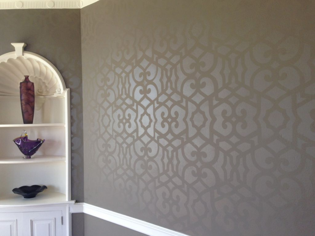 ... Walls With Lighter Blue Floral Stencil In A 2 Story Foyer Blue Walls  With Lighter Blue Floral Stencil In A 2 Story Foyer Close Up Of Stencil  Design On ...