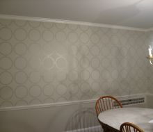 circle stencil design on beige wall