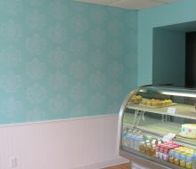 Light Blue walls with lighter blue  damask stencil