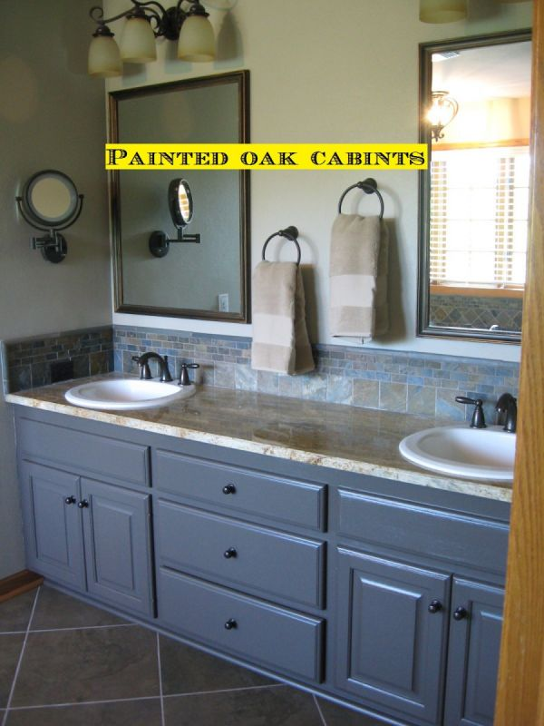 vanity with gray painted cabinets
