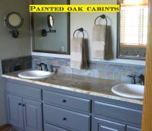 bathroom vanity with gray painted cabinets