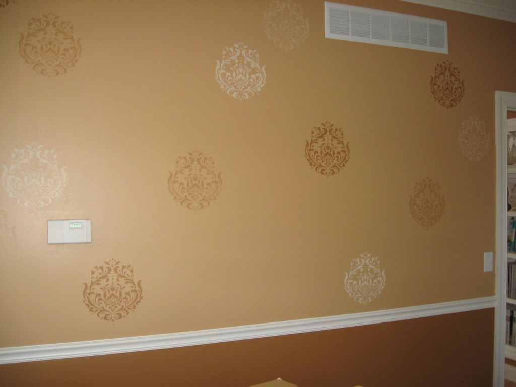 ... Walls With 3 Lighter And Darker Damask Stencil Designs On Walls ...