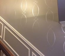 gray walls with pearl stencil design
