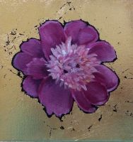 painted Pink Peony on canvas with gold leaf backgroud