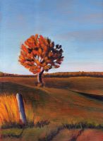 Painting of a lone tree with fall foliage and blue skies
