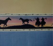 Handpainted blue and red sunset with black silhouette of cowgirls on horses