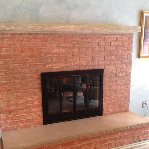 faux finished painted fireplace and walls