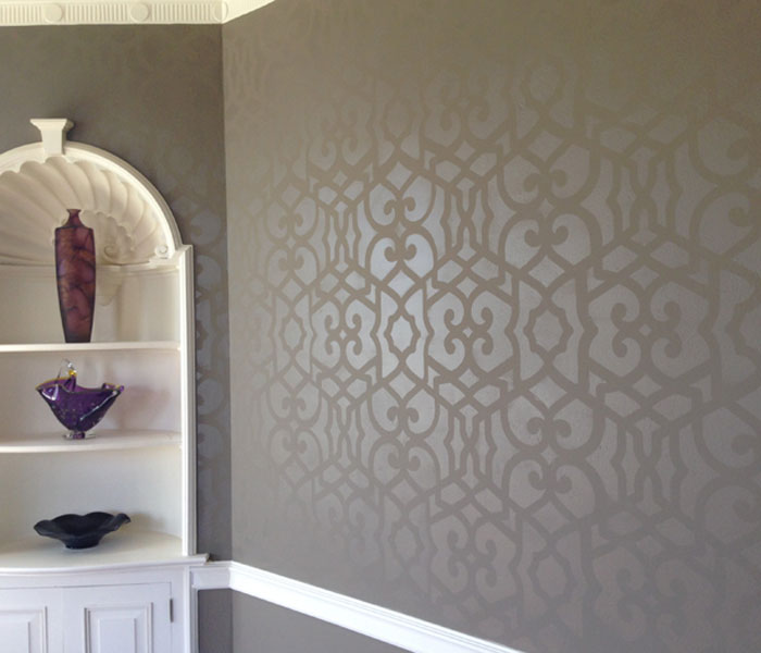 room walls painted with a stencil